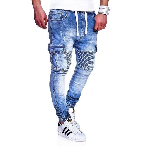 behype Slim-fit-Jeans »MORI« im Jogger-Stil, hellblau
