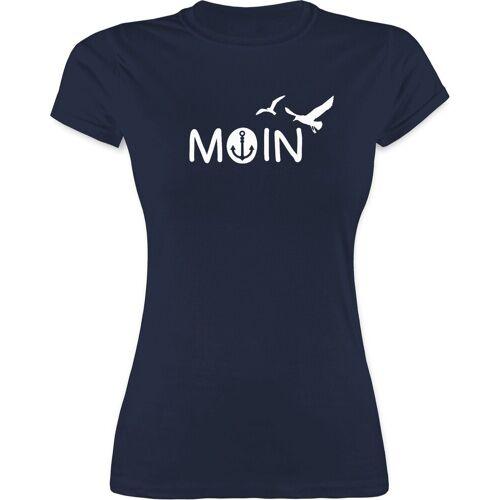Shirtracer T-Shirt »Moin - Sprüche Statement mit Spruch - Damen Premium T-Shirt« Spruchshirt mit Sprüchen, 1 Navy Blau