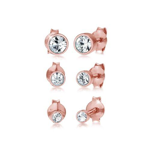 Elli Ohrring-Set »Stecker Kristalle (3 tlg) 925 Silber«, Kristall Ohrstecker