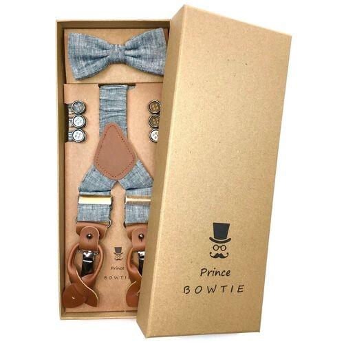 Prince Bowtie Hosenträger »Hosenträger Set mit Fliege« Hosenträger Set mit Fliege in Leinen Optik, Blau