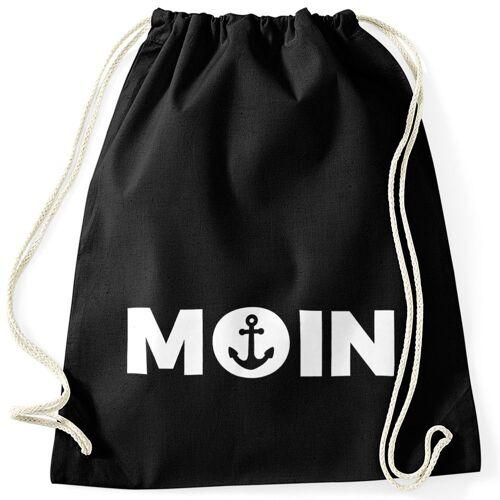 MoonWorks Turnbeutel »Cooler Turnbeutel Moin mit Anker ®«, schwarz