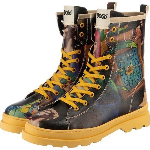 Dogo Shoes »Dogo Gisele - Art Form Schnürstiefeletten« Stiefel, schwarz