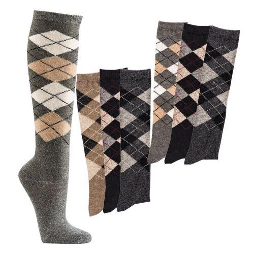 Socks 4 Fun Kniestrümpfe »Alpaka Kniestrümpfe Karomuster« (3-Paar)