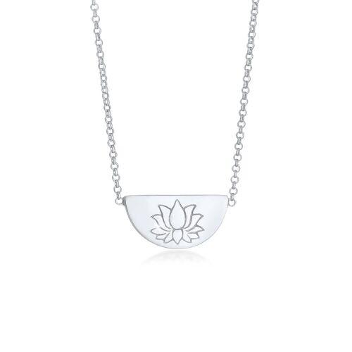 Elli Kette mit Anhänger »Lotusblüte Talisman Symbol 925 Silber«, Lotusblume, Silber
