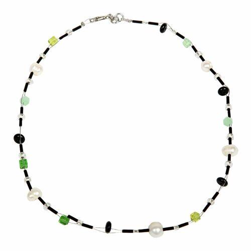 DeMarie Collier »Edelstahl Perle Onyx Acryl Kristall«