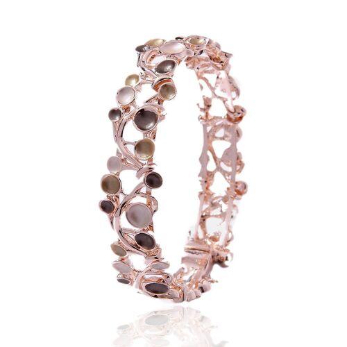 Mein Style Armband »Armband Magnetverschluss gold-beige-braun AM 010«, Armband mit Magnetverschluss