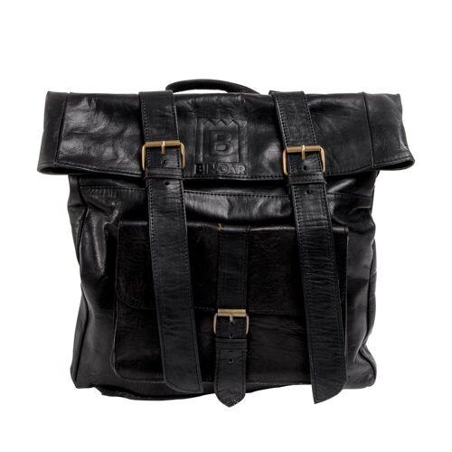 BINOAR Cityrucksack »Lederrucksack Hakim«, Leder rucksack damen herren unisex Lederrucksack aus Leder echtleder vintage Rucksack, schwarz