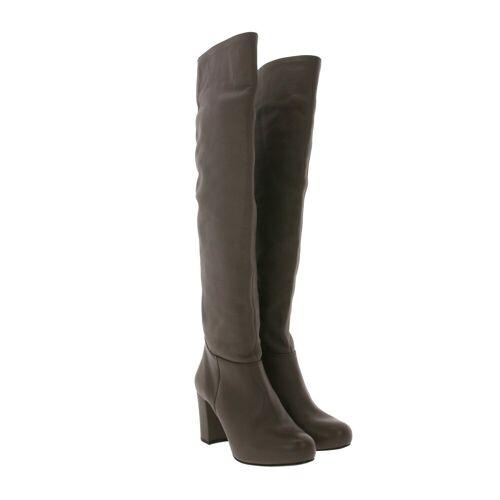 Unisa »Weitschaft-Stiefel schicke Damen Lederimitat-Stiefel Made in Spain Overknee-Stiefel Braun« Weitschaftstiefel