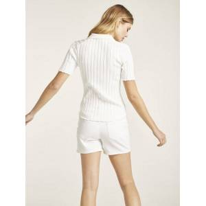 heine Pullover mit Polo Kragen, weiß