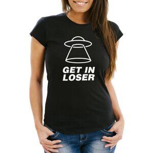 MoonWorks Print-Shirt »Damen T-Shirt mit Spruch - Get In Loser - Ufo FunShirt Slim Fit ®« mit Print, schwarz