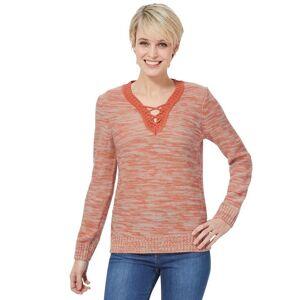 Classic Basics V-Ausschnitt-Pullover, mango-meliert-orange