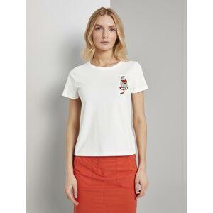 TOM TAILOR T-Shirt »T-Shirt mit kleiner Affen-Applikation«, weiß