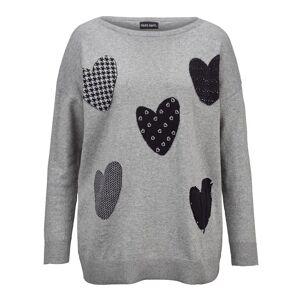 Laura Kent Pullover mit gemusterten Herzen, Grau