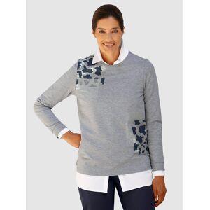 Laura Kent Sweatshirt mit Steinchenzier, Hellgrau