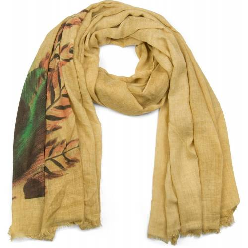 styleBREAKER Schal »Schal mit Boho Federprint« Schal mit Boho Federprint, Camel