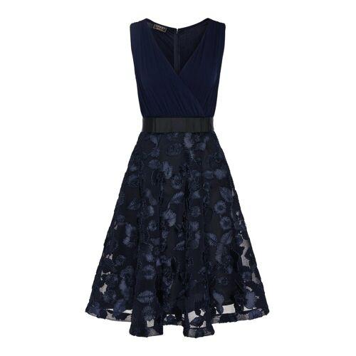 Apart Abendkleid mit Schleife vorne an der Taille, nachtblau