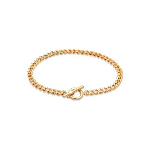 Elli Armband »Basic Panzerkette Kreis Stab Trend 925 Silber«, Basic Armband, Gold
