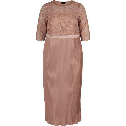 Zizzi Abendkleid Große Größen Damen Kleid mit Spitze und Plissée
