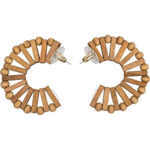 styleBREAKER Paar Creolen (2-tlg), Holz Creolen Ohrringe mit Perlen und Stäbchen, Braun