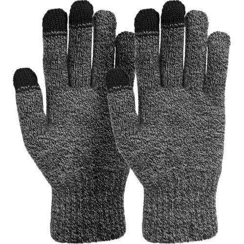 styleBREAKER Strickhandschuhe Touchscreen Strick Handschuhe mit Karo Strickmuster, Schwarz-Weiß