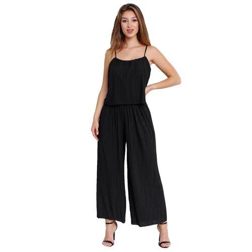 Egomaxx Jumpsuit »3239« Damen Jumpsuit Chiffon plissee, Schwarz