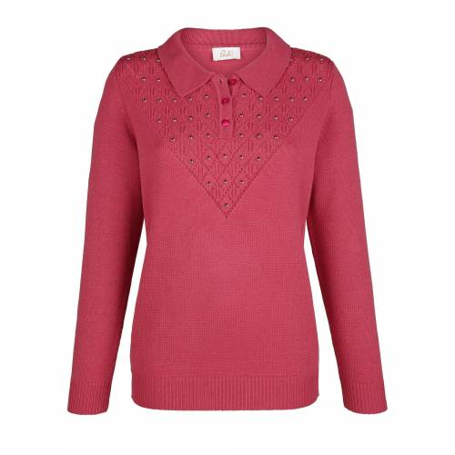 Paola Pullover mit Ajourmuster, Rot