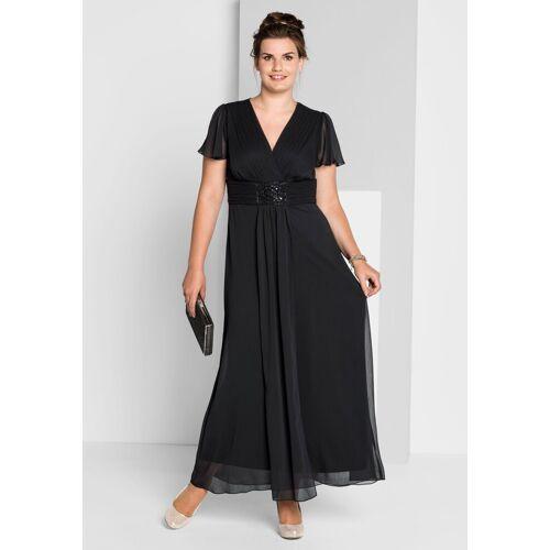 Sheego Abendkleid mit Schmuckbrosche, schwarz