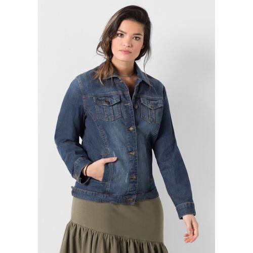 Sheego Jeansjacke in elastischer Qualität, blue