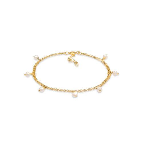 Elli Perlenarmband »Armkette Süsswasserperlen 925 Silber«, Perle, Gold