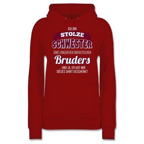 Shirtracer Hoodie »Ich bin stolze Schwester - Damen Premium Kapuzenpullover - Pullover & Hoodies« Schwester & Tante, 10 Rot
