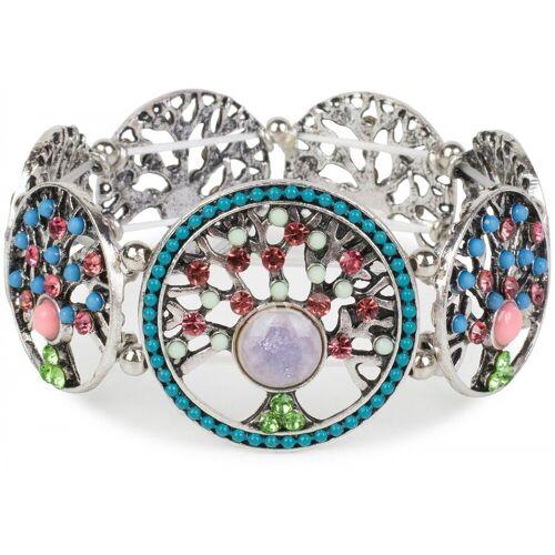 styleBREAKER Armreif »Armband mit Lebensbaum Amuletten mit Perlen & Strass«, Armband mit Lebensbaum Amuletten mit Perlen & Strass, Bunt