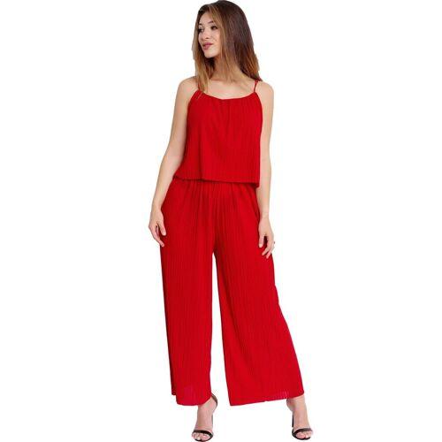 Egomaxx Jumpsuit »3239« Damen Jumpsuit Chiffon plissee, Rot