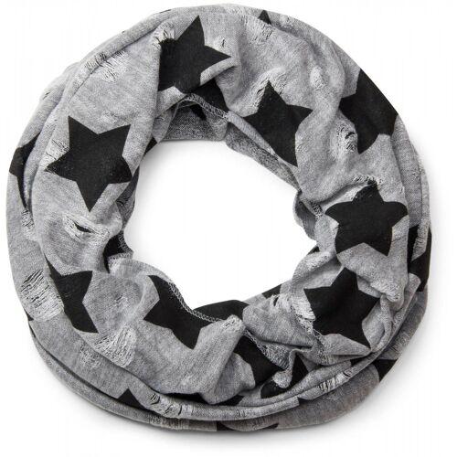 styleBREAKER Loop »Loop Schal mit Sterne und Punkte Muster« Loop Schal mit Sterne und Punkte Muster, Hellgrau