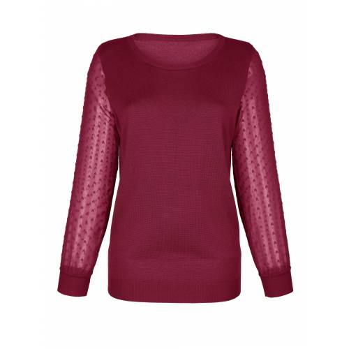 Dress In Pullover mit elegant transparenten Ärmel, Rot
