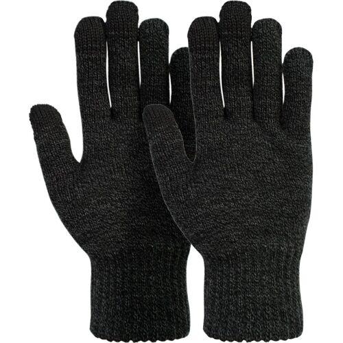 styleBREAKER Strickhandschuhe Touchscreen Strick Handschuhe mit Karo Strickmuster, Dunkelgrau meliert