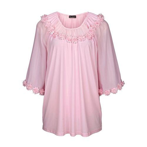 m. collection Shirt mit Dekoblümchen, Rosé