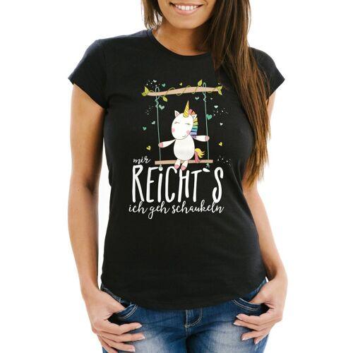 """MoonWorks Print-Shirt »Damen T-Shirt Einhorn auf Schaukel """"Mir reicht`s ich geh schaukeln"""" Spruch Slim Fit ®« mit Print, schwarz"""