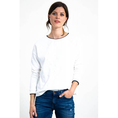 Garcia Sweater mit Ton-in-Ton Stickerei, offwhite