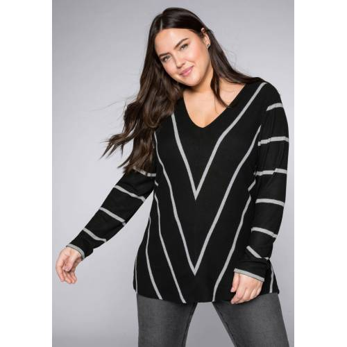 Sheego V-Ausschnitt-Pullover im außergewöhnlichen Streifen-Dessin