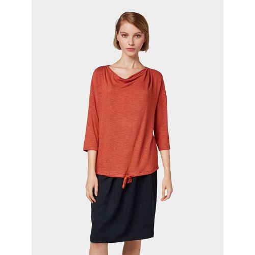 TOM TAILOR 3/4-Arm-Shirt »3/4 Arm Shirt mit Wasserfallausschnitt«, rot