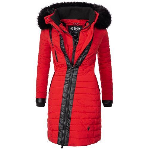 Navahoo Wintermantel »Tirana« modischer Damen Winter Steppmantel mit Kapuze, rot