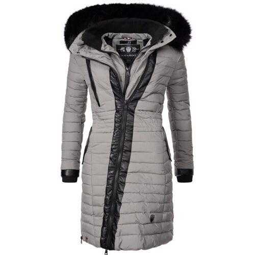 Navahoo Wintermantel »Tirana« modischer Damen Winter Steppmantel mit Kapuze, grau