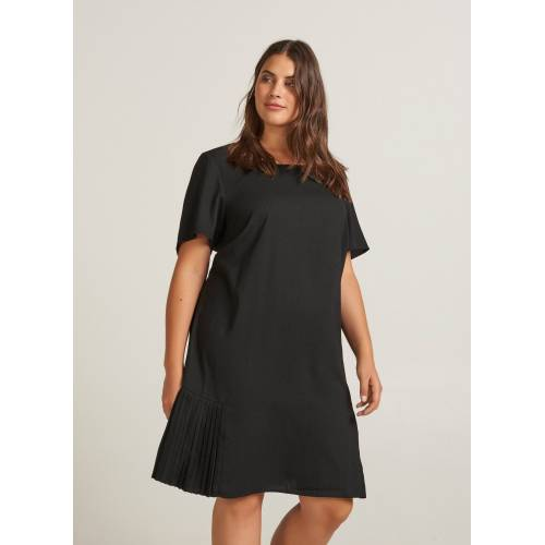 Zizzi Plisseekleid Damen Große Größen Kleid Elegant Kurzarm Knielang Abendkleid