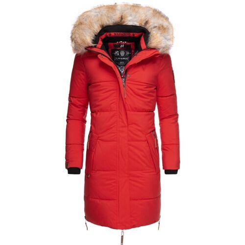 Navahoo Wintermantel »Halina« modischer Damen Winter Steppmantel mit Kapuze, rot