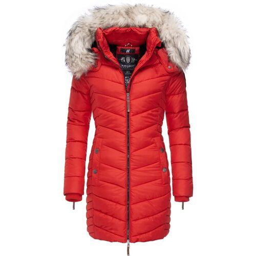 Navahoo Wintermantel »Nimalaa« modischer Damen Winter Steppmantel mit Kapuze, rot