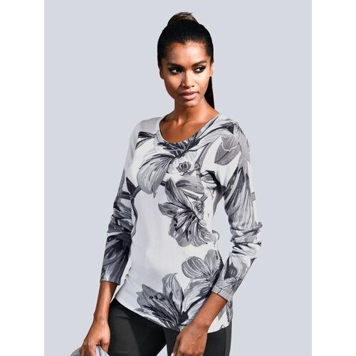 Alba Moda Pullover mit großflächigem Print, Grau