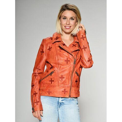 Maze Lederjacke mit gestickten Symbolen »Movas«, orange