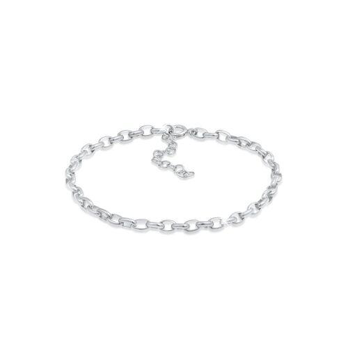 Nenalina Armband »Charmträger Gliederarmband Oval Basic 925 Silber«, Basic Armband, Silber