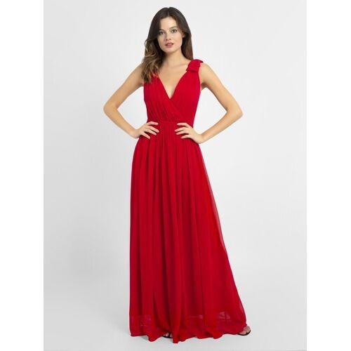 Apart Abendkleid mit tiefem V-Ausschnitt, rot