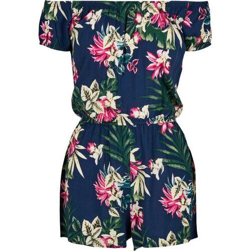 URBAN CLASSICS Jumpsuit »Ladies AOP Off Shoulder Short Jumpsuit«, blue flower